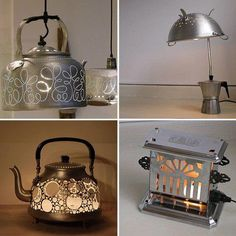 Lamps: From Trash To Treasure Company called GARBAGE makes lights out of old kitchen tools/appliances!Company called GARBAGE makes lights out of old kitchen tools/appliances! Recycled Lamp, Recycled Kitchen, Old Kitchen, Kitchen Items, Kitchen Tools, Kitchen Stuff, Kitchen Utensils, Kitchen Lamps, Kitchen Lighting