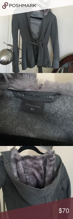 Gray Fur Hood Soft Armani Exchange Jacket So soft and the hood is very soft as well. Great condition, only worn a few times. Very warm, comes with belt for around the waist. Beautiful piece! Armani Exchange Jackets & Coats