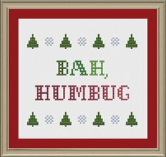Bah humbug: funny Christmas cross-stitch by nerdylittlestitcher Cross Stitch Tree, Cross Stitch Books, Christmas Cross, Funny Christmas, Funny Xmas, Cross Stitching, Cross Stitch Embroidery, Funny Cross Stitch Patterns, Etsy