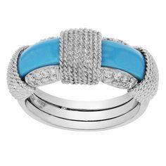 Roberto Coin 18K White Gold 0.28 Cttw Diamonds & Turquoise Women's Ring