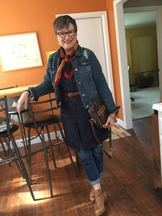 Wearing three pieces of denim in one outfit is my new record - Brenda Kinsel Over 60 Fashion, Mature Fashion, Over 50 Womens Fashion, 50 Fashion, Fall Fashion Trends, Fashion Tips For Women, Autumn Fashion, Fashion Outfits, Fashion Pants