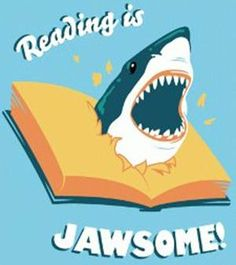 Reading is Jawsome! Click the image to visit The Book Wheel, where we love books so much we give them away for free every month! Library Humor, Library Posters, Library Quotes, Library Signs, Library Girl, Library Book Displays, Library Ideas, Library Inspiration, Door Displays