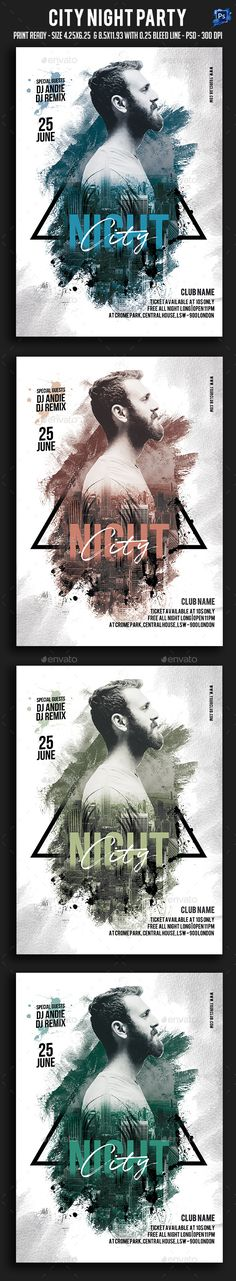 City Night #Party #Flyer - Clubs & Parties Events Download here: https://graphicriver.net/item/city-night-party-flyer/19631137?ref=alena994