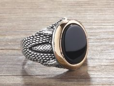 925K Sterling Silver Man Ring With Natural Black Onyx #IstanbulJewellery #SolitairewithAccents