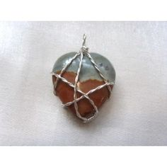 Wire wrapped Picture Jasper heart pendant, 32mm