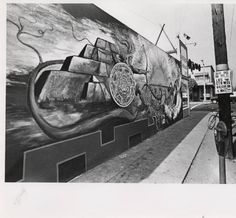 Mural painting of Mesoamerican pyramid :: Latino Archives