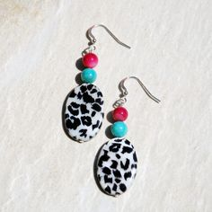 Black white leopard print, pink and turquoise shell earrings. Handmade pink, turquoise, black & white earrings. leopard print earrings by KarmaKittyJewelry on Etsy