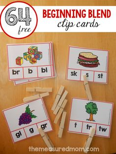 free beginning blends clip cards