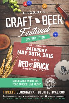 For those who love craft beer and great food, get excited! The Georgia Craft Beer Festival is back for it's third installment and will be held next to Red Brick Brewing Company on Saturday, May 30th from 1:00pm to 6:00 pm