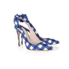 "Rachel Khoo reveals her 20 favourite fashion buys, plus top Paris shops - ""Blue-and-white check plus bow detail - how can I resist these shoes?""    Miu Miu Gingham Taffeta Slingbacks, £370 at Net-a-Porter"