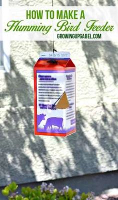 Gather up a milk carton, twine, sugar and water and make a humming bird feeder with this easy craft tutorial.