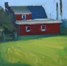 "'Red Farmhouse' - 6""x6"" original oil painting by Maryann Lucas  art, oil paintings, Hamptons, barn, farmland, landscape, rural architecture, contemporary, impressionism, realism"