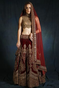 Indian Saree Bridal Beige and Maroon Applique Gown - Wed In Vogue Pakistani Engagement Dresses, Pakistani Dresses, Indian Dresses, Indian Outfits, Golden Bridal Lehenga, Indian Bridal Lehenga, Purple Lehnga, Golden Blouse, Black Blouse