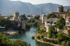 Stari Most (Old Bridge) in the city of Mostar in Bosnia and Herzegovina