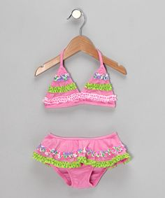 Take a look at this Lime & Pink Ruffle Bikini - Infant by Swimsuit Station on #zulily today!