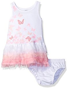 Amy Coe Girls Butterfly with Ruffle Dress with Panty Set White Rose Shadow 18 Months