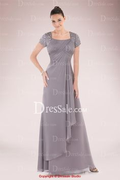 Graceful Square Neckline Mother of the Bride Dress with Sequined Short Sleeves