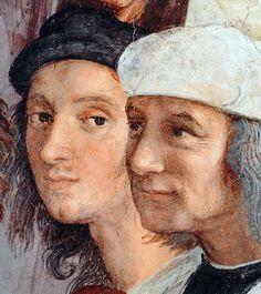 Raphael ( 1509-1510) , détail de fresque de l'Ecole d'Athènes : Autoportrait en béret noir. Musées du Vatican, Rome