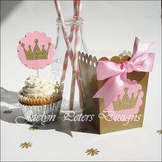 Pink & Gold Princess Party Popcorn Favor Boxes