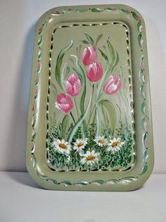 A Metal Tray Painted Green Hand Painted Original by FolkArtByNancy