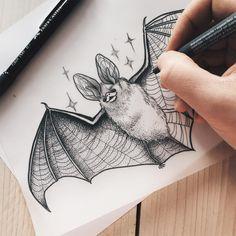 Carolin Walch tattoo design, bat for this week in progress