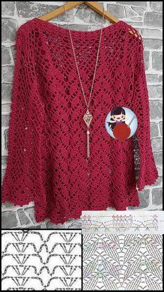 Crochet Doily Diagram, Crochet Poncho Patterns, Crochet Cardigan, Crochet Doilies, Crochet Stitches, Knitting Patterns, Crochet Faces, Cute Crochet, Knit Crochet