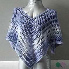 Crochet Shirt Wear the Point in Middle - Free crochet pattern for the Simple Summer Poncho using Red Heart Super Saver Ombre. The poncho is given in one size, but can be adjusted as needed. Crochet Poncho Patterns, Crochet Shawls And Wraps, Shawl Patterns, Crochet Scarves, Crochet Clothes, Crochet Yarn, Free Crochet, Crochet Stitches, Crochet Vests