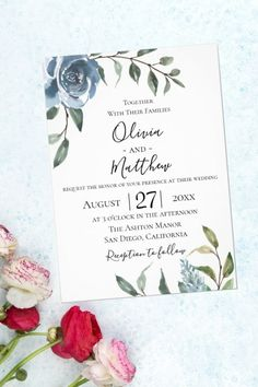 This wedding invitation features modern romantic design of Watercolor Flowers and in dusty blue along with botanical foliage leaves in light green and gray tones. Those wedding invites cards are a great idea for a winter wedding.