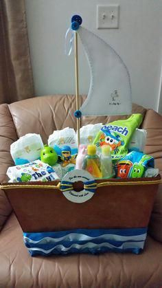 Baby Shower Boat Gift Basket - Made by LadyM Sweets, Flowers and creations Miami FL Baby Gift Hampers, Baby Hamper, Baby Baskets, Gift Baskets, Baby Shower Camo, Baby Shower Gift Basket, Baby Shower Gifts, Baby Boy Decorations, Boating Gifts