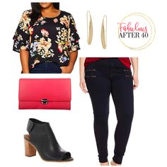 Fall Plus-Size Fashion - Dark Floral blouse with black jeans | plus size fall outfit