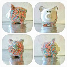 Rainbow Piggy Bank: Hand painted Piggy Dot painting Rainbow Made to Order… Pottery Painting, Dot Painting, Ceramic Painting, Pig Crafts, Paper Crafts, Personalized Piggy Bank, Cute Piggies, Bottle Painting, Craft Activities For Kids