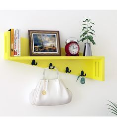 Home Sparkle Yellow Mango Wood Wall Shelf With Key Holder By Home Sparkle  Online   Wall