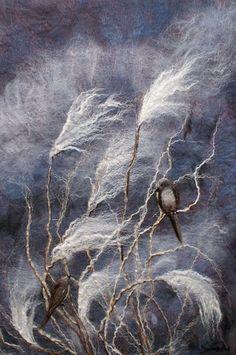 "Rahola | Drdul | Gallery.  Dusk, 2014  26.25""w x 37.25""h  Hand dyed merino wool, silk, linen, mohair, black walnut frame"