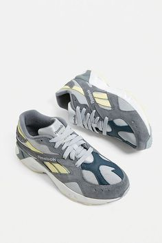 5f414825d47 Reebok Aztrek Original Grey + Neon Trainers | Urban Outfitters UK