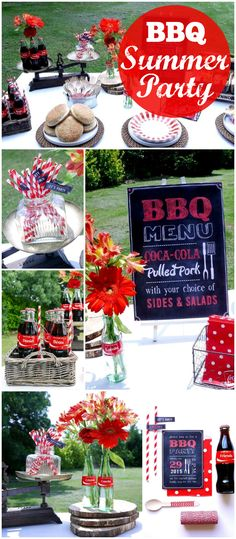 How great is this summer BBQ with an outdoor picnic! Would be a fun style for a casual grad party! Bbq Party Decorations, Decoration Table, Batman Party, Summer Bbq, Summer Parties, Summer Party Themes, Summer Time, Bash, Bbq Menu