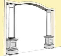 Elite Trimworks offers standard or custom made Interior Pedestals in either MDF or Hardwood. Interior Wall Paint, House Design, Pillar Design, Interior Columns, Interior, Pedestal, Ceiling Design Bedroom, Wood Columns, Archways In Homes