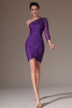 2014 Elegant One Sleeve Prom Dress Short/Mini Pleated Bodice With Beaded Applique