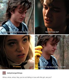 Stranger Things Nancy Wheeler and Steve Harrington Stranger Things Have Happened, Stranger Things Funny, Stranger Things Netflix, Stranger Things Steve, Percy Jackson, Steve Harrington Stranger Things, Nancy Wheeler, Stranger Danger, Joe Keery