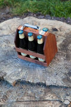 Wood Six Pack for Beer by WoodThumbTies on Etsy #craftbeer