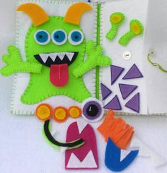 Monster Mix Up Play Set Quiet Book with clip by CurlyTailCrafts