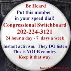 Call your representatives..make your vote count.