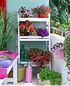 Shade plants on the back deck? Spice up your apartment balcony/patio with flower stands Decor, Small Porches, Amazing Gardens, Ladder Shelf Decor, Patio Decor, Shelf Decor, Garden Inspiration, Balcony Flowers, Flower Stands