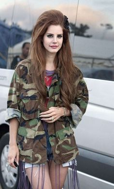 Lana Del Rey wearing a camo jacket from US Army