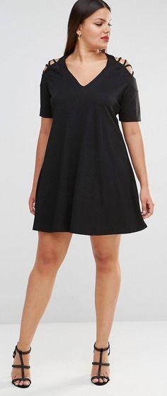 Plus Size Lattice Detail Cold Shoulder Swing Dress