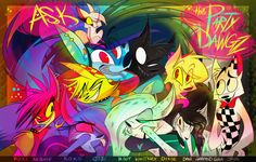 "The banner for Vivziepop's deleted ""Ask the Party Dawgz"" blog on tumblr…"
