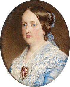 D. Maria II em 1852, Rainha de Portugal e irmã de D Pedro II, nasceu no Rio de Janeiro.