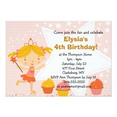 "Customizable Fairy Princess Cupcake Birthday Party 5"" X 7"" Invitation Card"