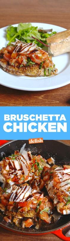Bruschetta ChickenDelish (I would put the chicken under the broiler after adding the shaved parm to melt just a little, then add the balsamic. Easy Chicken Recipes, Meat Recipes, Dinner Recipes, Cooking Recipes, Healthy Recipes, Recipies, Yummy Recipes, Yummy Food, Chicken Meals
