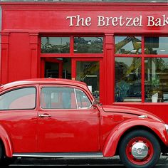 Red Beetle at The Bretzel Bakery. Volkswagen, Volkswagon Bug, Kuta, Red Beetle, Colors Of Fire, I See Red, Vw Vintage, Simply Red, Red Aesthetic