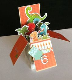 Card in a Box - Happy Birthday Dinosaurs child card
